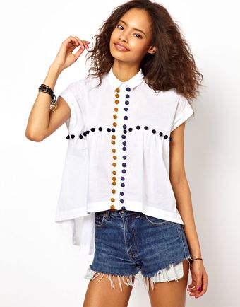 Asos Shirt with Crochet Pom Pom Detail - Lyst