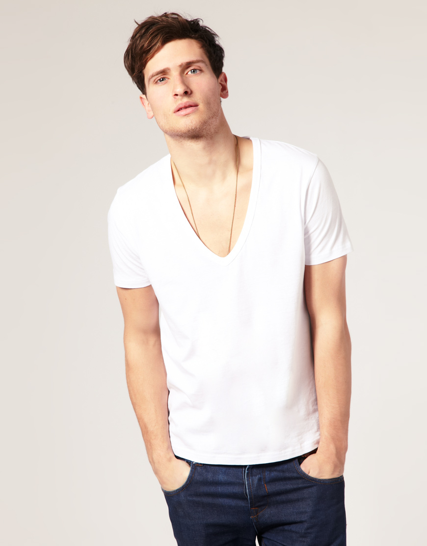 Buy ASOS Men's Design T-shirt With Deep V Neck In White. Similar products also available. SALE now on!Price: $8.
