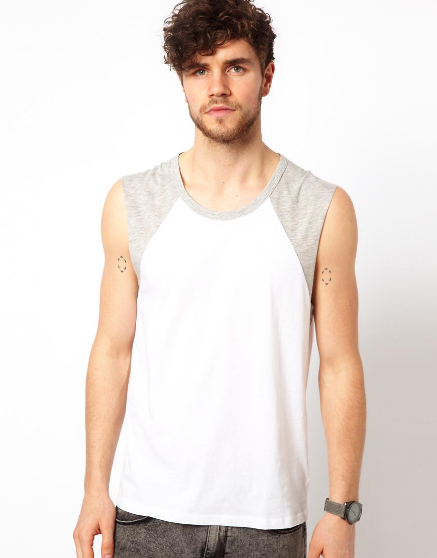 Asos Sleeveless T-shirt with Contrast Raglan in White for Men   Lyst