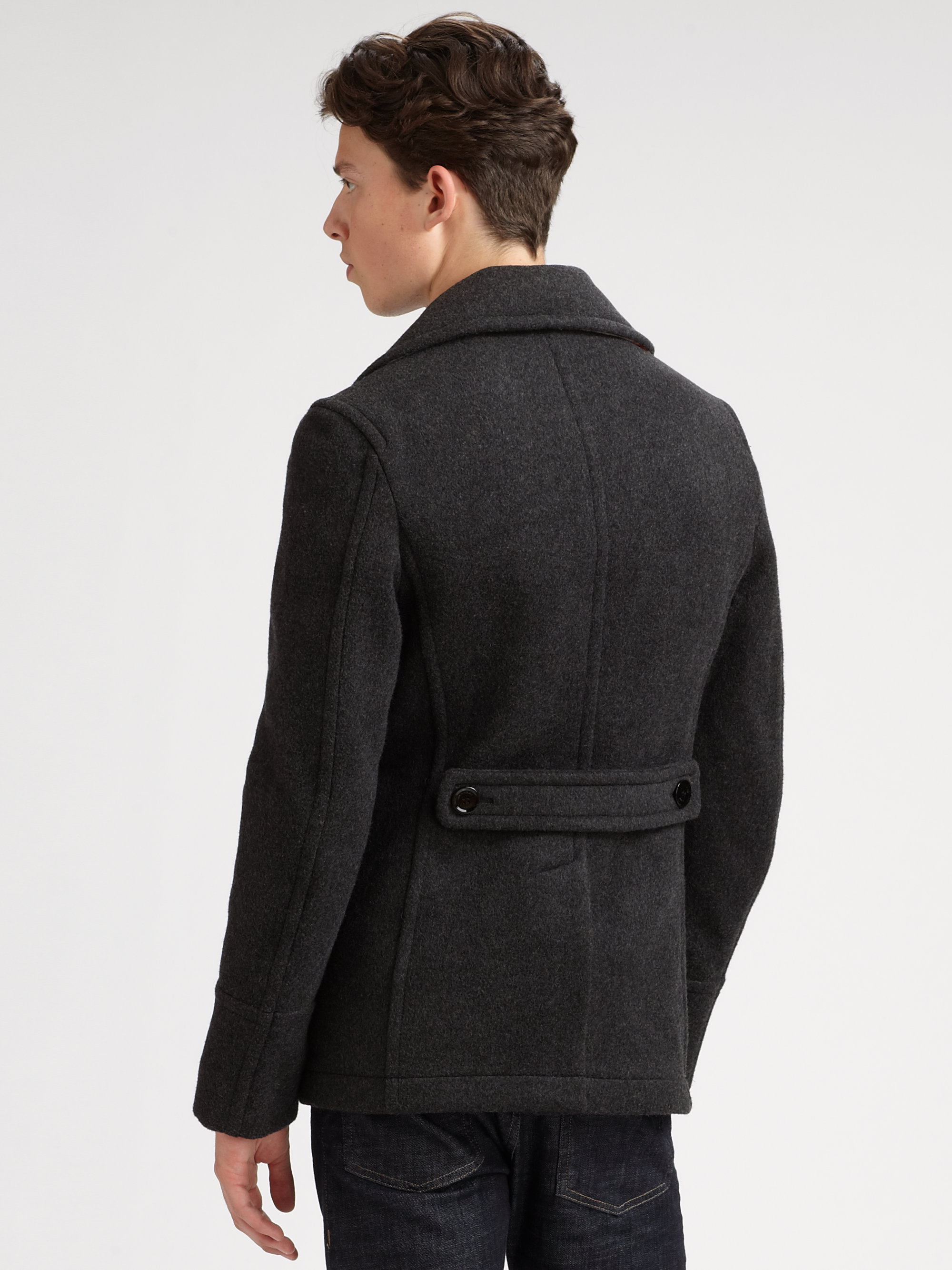 Grey Pea Coat - Tradingbasis