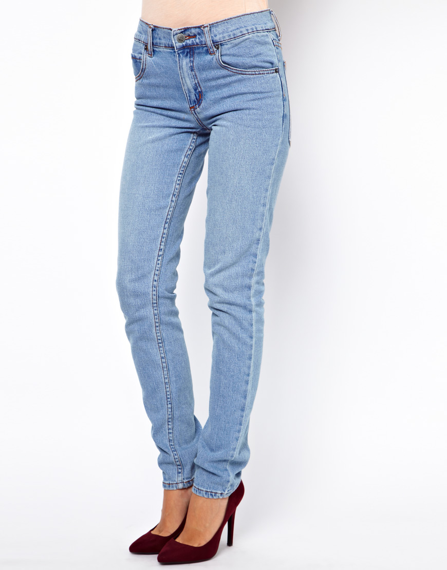 cheap monday tight jeans in blue lightblue lyst. Black Bedroom Furniture Sets. Home Design Ideas