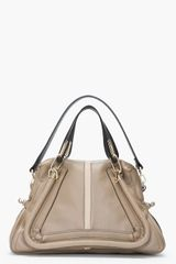 Chloé Medium Taupe Leather Military Paraty Bag - Lyst