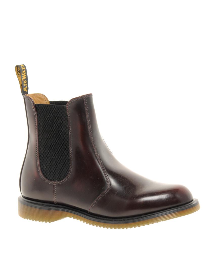 dr martens kensington flora burgundy chelsea boots in brown lyst. Black Bedroom Furniture Sets. Home Design Ideas