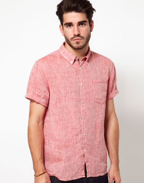 Edwin Shirt Edward Short Sleeve Chambray In Red For Men Lyst
