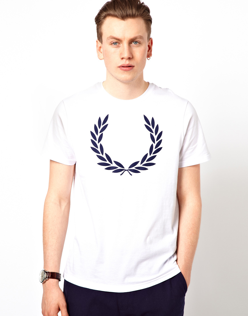 fred perry t shirt with laurel print in white for men lyst. Black Bedroom Furniture Sets. Home Design Ideas