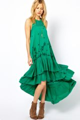 Free People Long Tiered Dress with Crochet Back Detail - Lyst