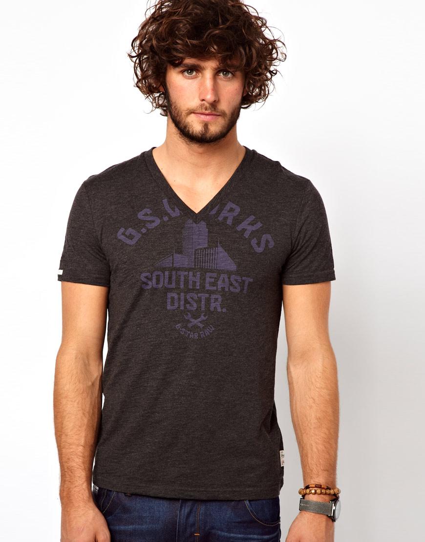g star raw g star t shirt art buell vneck logo in black. Black Bedroom Furniture Sets. Home Design Ideas
