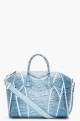 Givenchy Medium Blue Crocembossed Leather Antigona Duffle Bag - Lyst