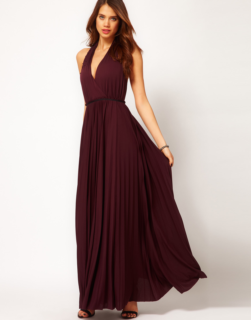 Lyst Halston Long Pleated Gown With Neck Design In Purple