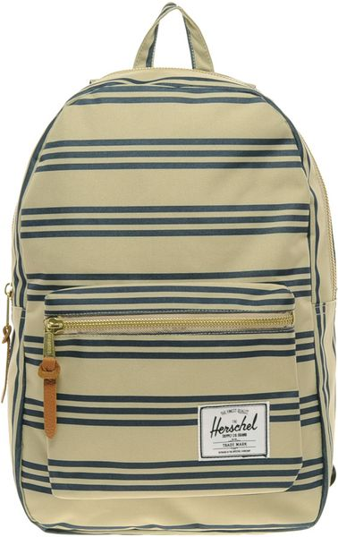 herschel supply co settlement canvas backpack in blue for men beige lyst. Black Bedroom Furniture Sets. Home Design Ideas