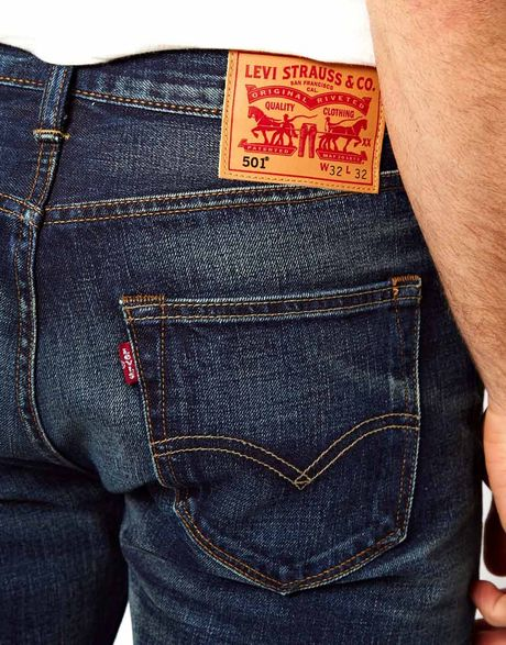 Levi's Levis Jeans 501 Straight Fit Selvedge Tattered Blue ...
