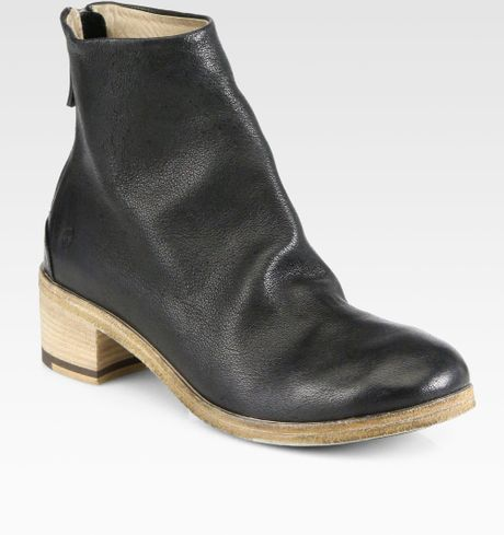 marsell leather wooden heel ankle boots in black lyst