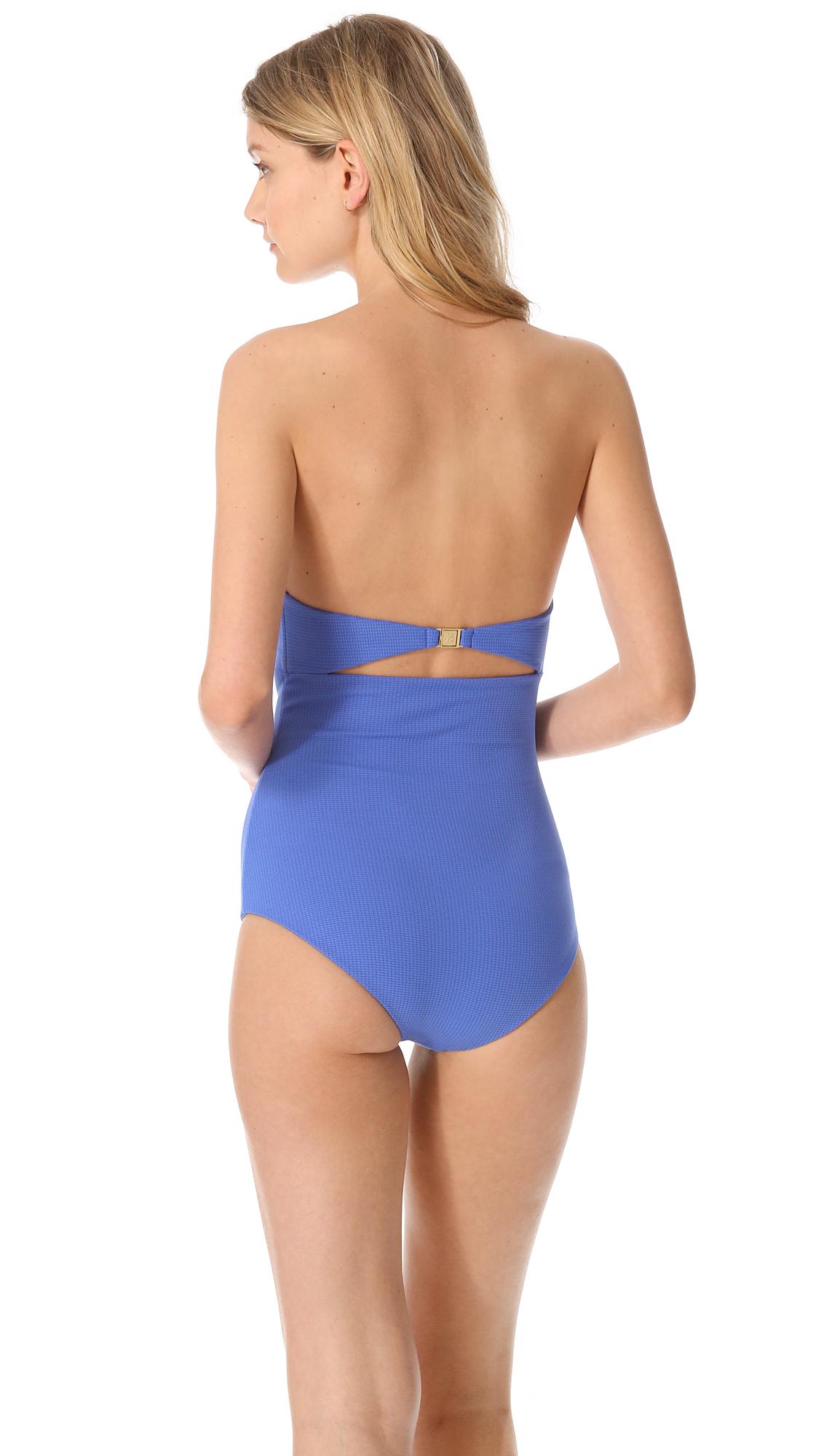 marysia swim mavi cutout one piece swimsuit in blue lyst
