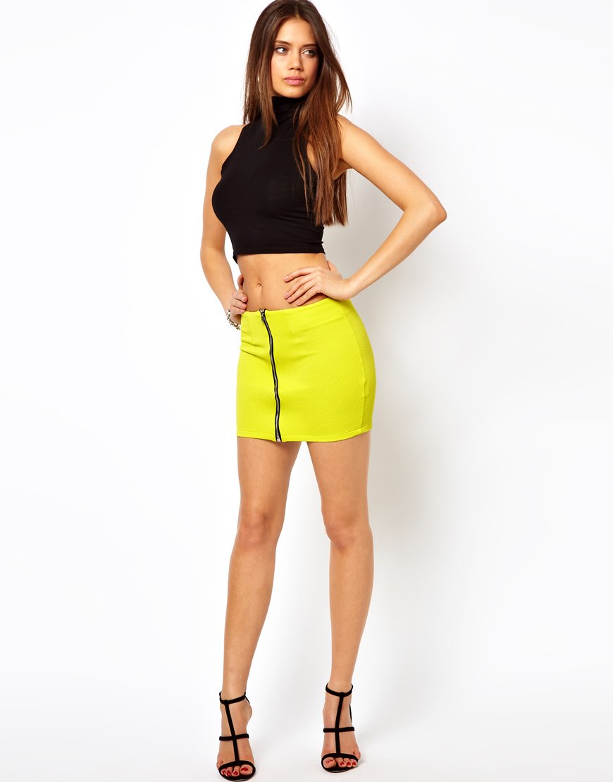 Oh my love Mini Skirt with Zip Front in Yellow | Lyst