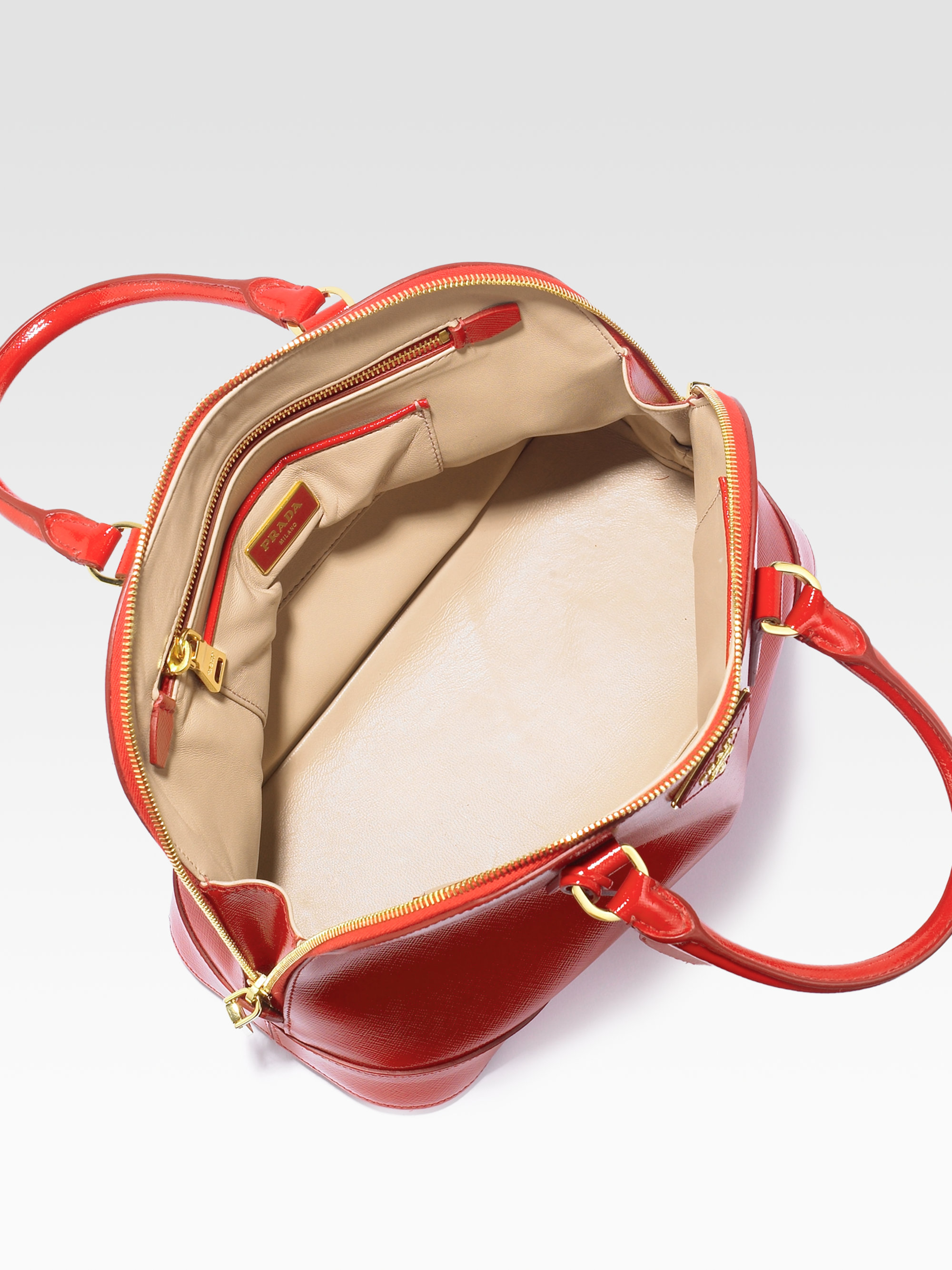 Prada Saffiano Vernice Bugatti Top Handle Bag in Red | Lyst
