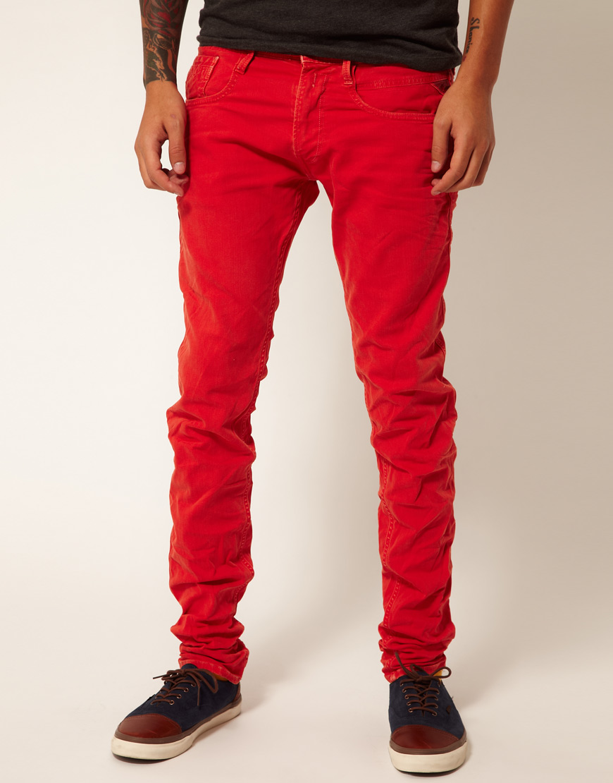 Replay Jeans Anbass Regular Slim Fit Red Overdye Denim in Red for ...