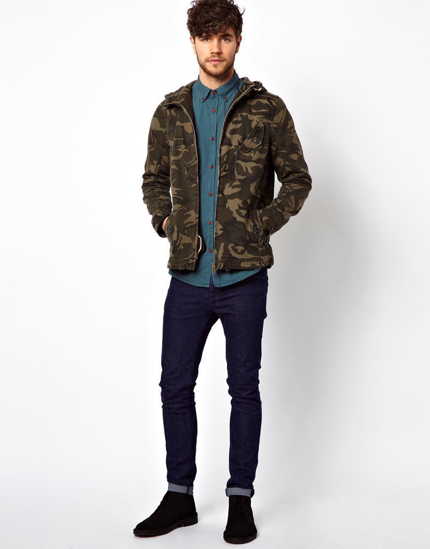 5bb97ec765155 River Island Camo Jacket in Green for Men - Lyst