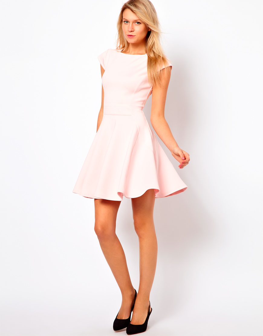Lyst - Ted Baker Skater Dress with Capped Sleeves in Pink