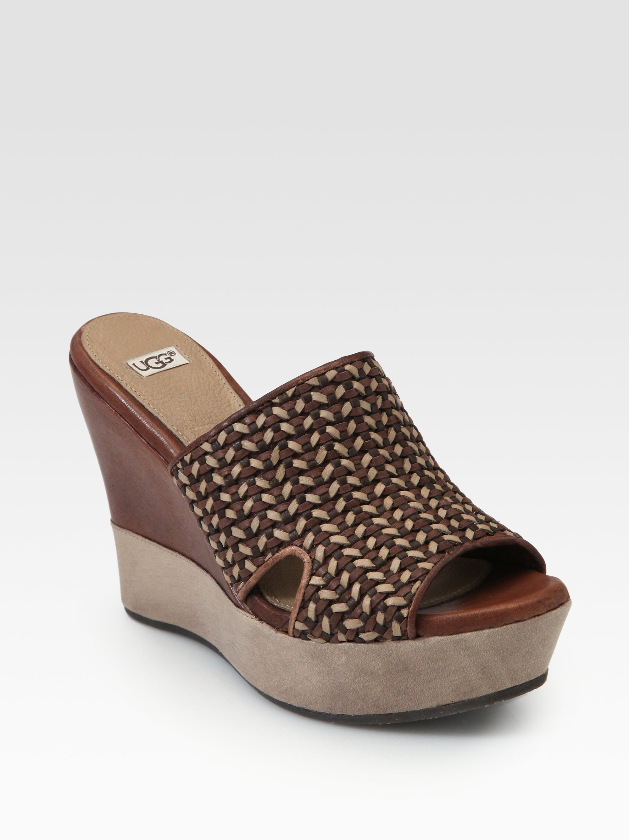 Ugg Doha Woven Leather Wedge Slides In Brown Lyst