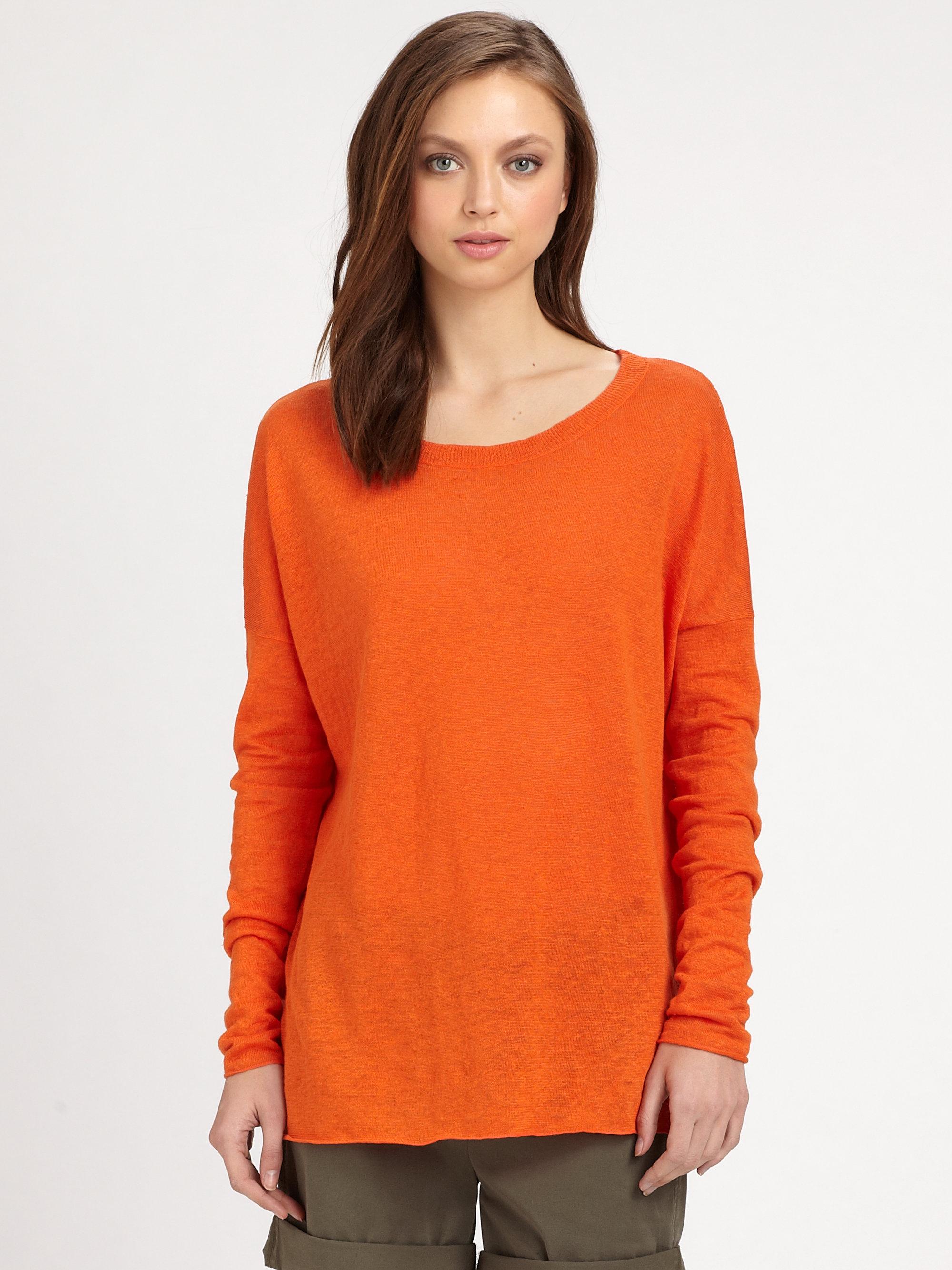 Vince Drop Shoulder Cotton Sweater in Orange   Lyst
