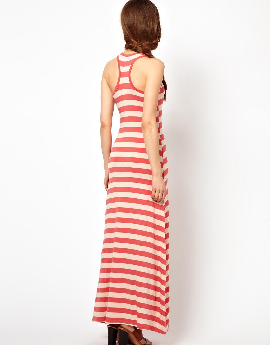 Wal-g Striped Maxi Vest Dress in Orange