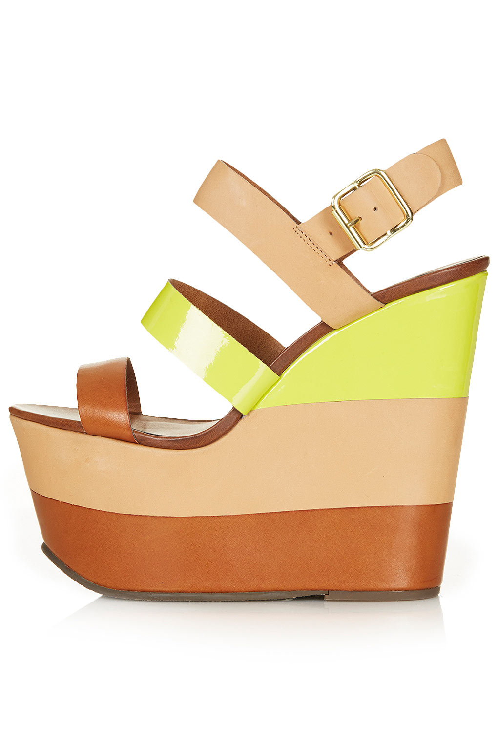 Lyst Topshop Leather Strip Wedges In Natural