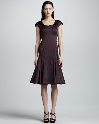 Zac Posen Capsleeve Satin Dress  - Lyst
