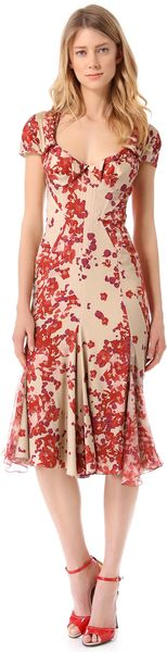 Zac Posen Short Sleeve Print Dress - Lyst