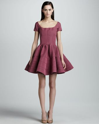 Zac Posen Shortsleeve Fitand Flare Dress Orchid - Lyst