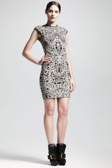 Alexander McQueen Capsleeve Puckered Jacquard Sheath Dress - Lyst