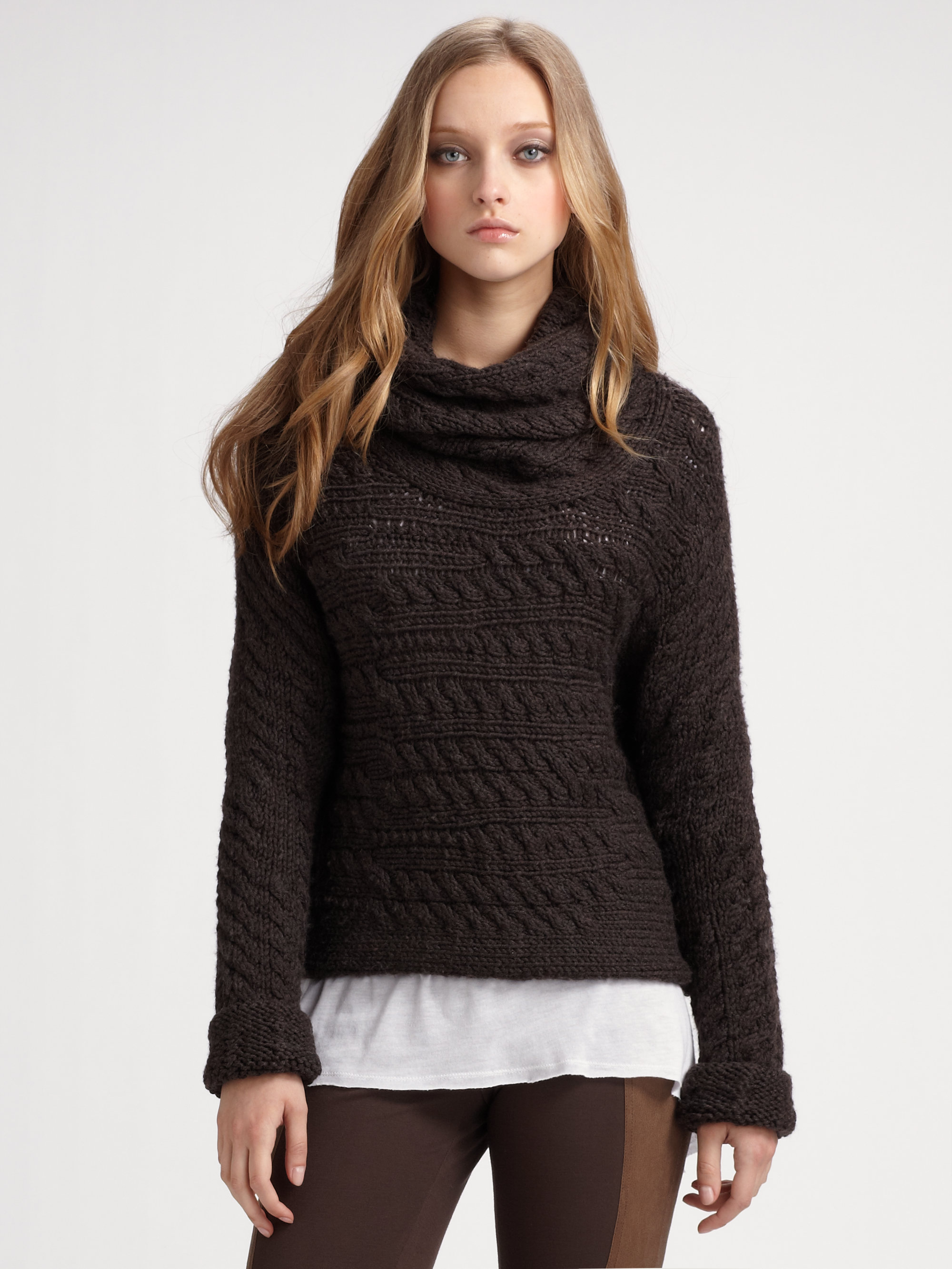 Alice   olivia Cable Turtleneck Sweater in Brown   Lyst