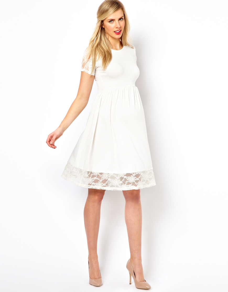 dbda2dcc903d8 ASOS Maternity Exclusive Skater Dress with Lace Insert in White - Lyst