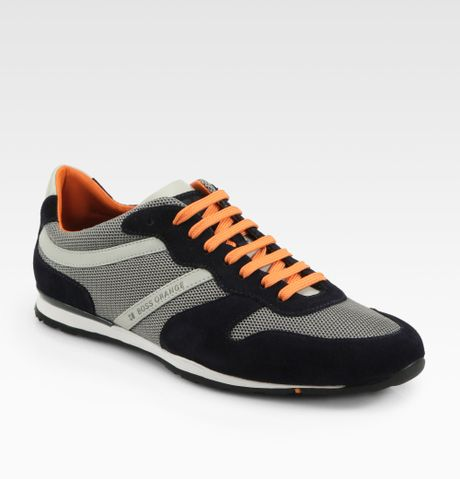 boss orange orlet laceup sneakers in black for men grey. Black Bedroom Furniture Sets. Home Design Ideas