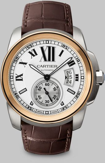 Cartier Calibre De 18k Pink Gold Stainless Steel Alligator Watch - Lyst
