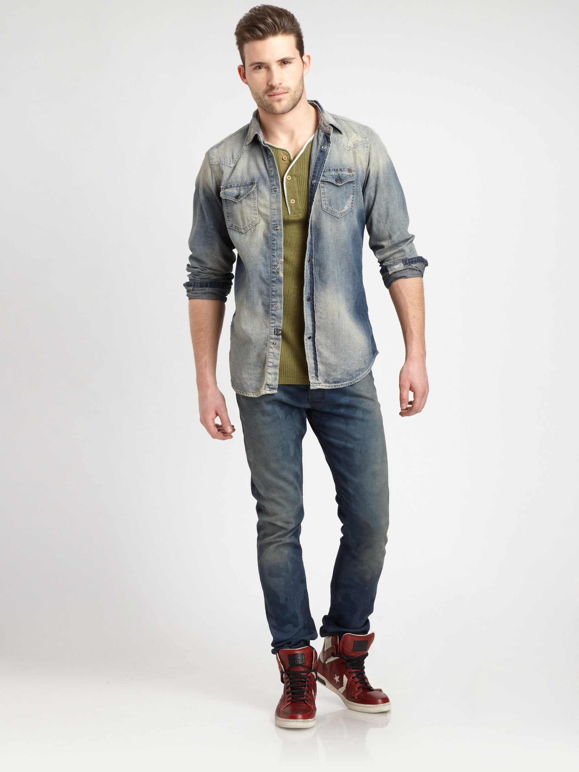 d34f8b1bfbe Lyst - DIESEL Sonora Denim Shirt in Blue for Men