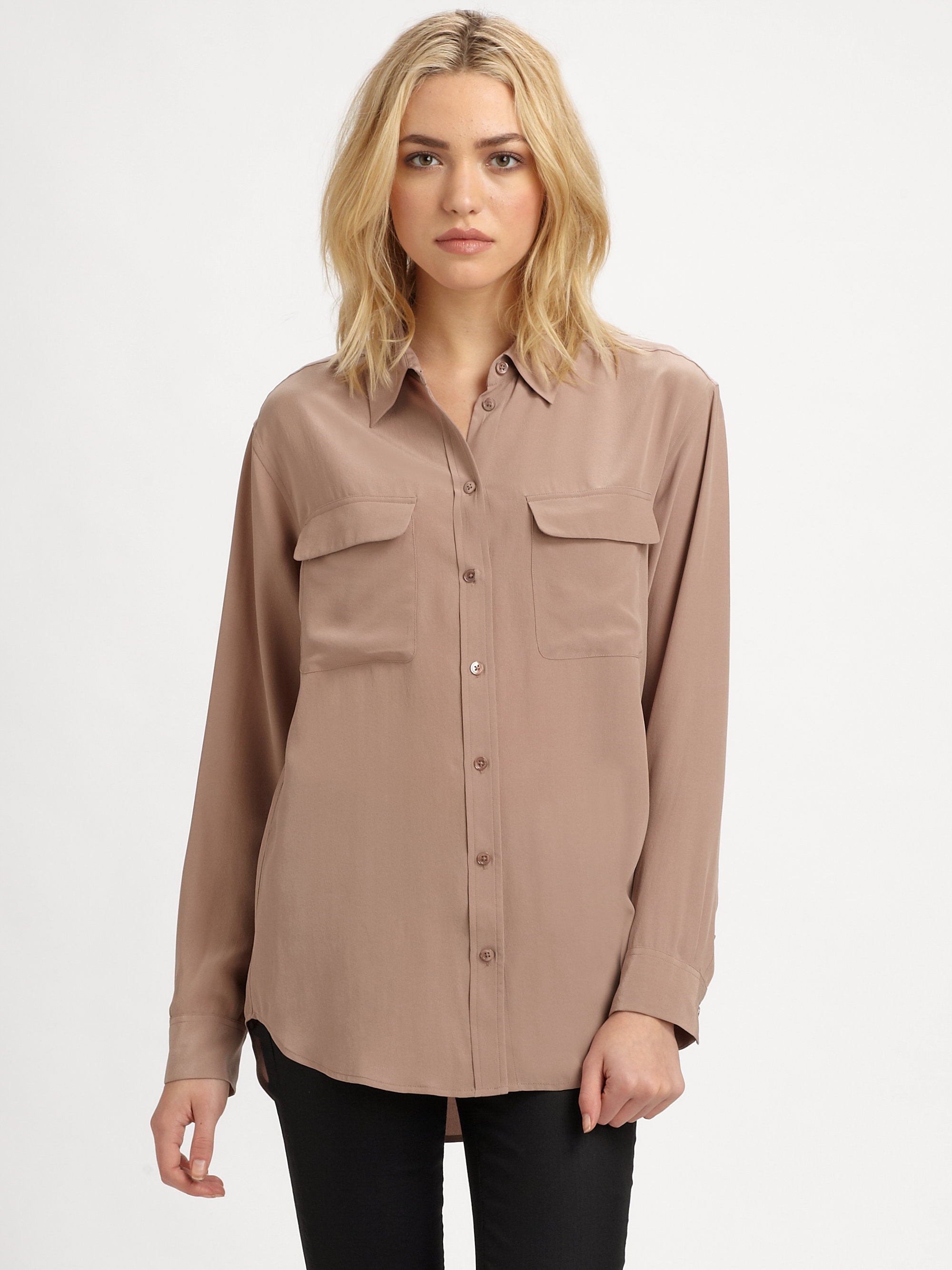 equipment signature silk shirt in brown lyst