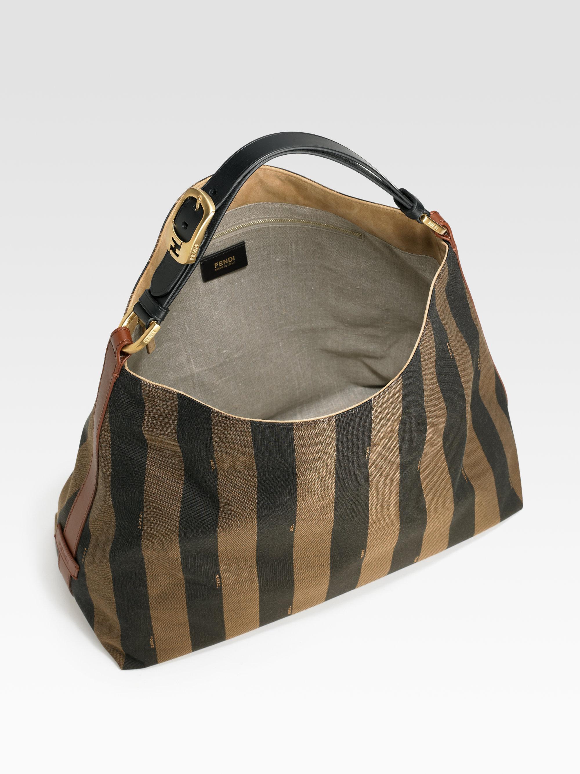 e9e0ef45383 Lyst - Fendi Pequin Striped Jacquard Hobo in Brown
