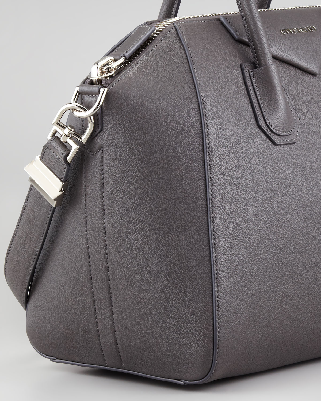 c3a1891e3e9d Lyst - Givenchy Antigona Medium Sugar Goatskin Satchel Bag Gray in Gray