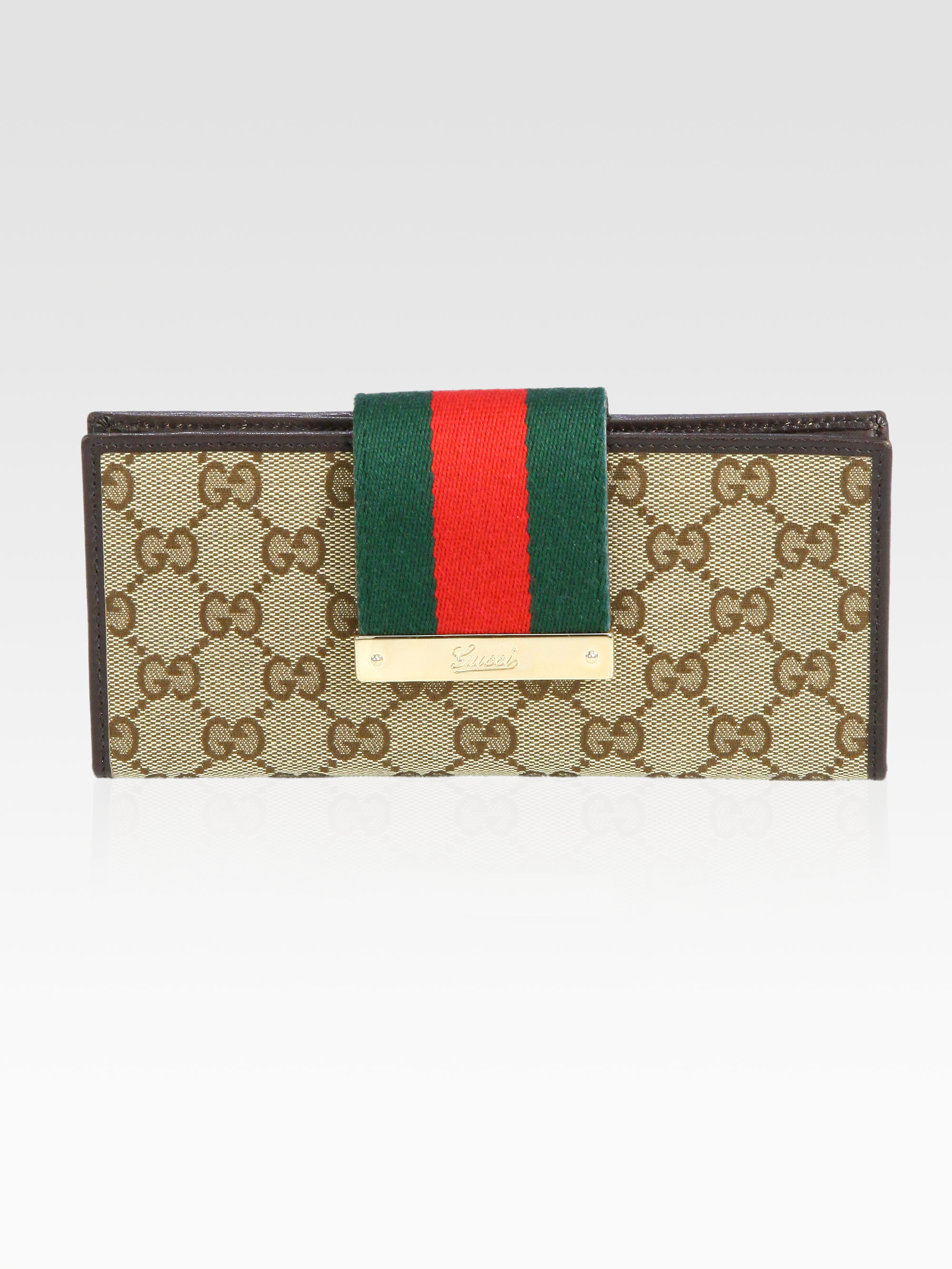 95bda3877db9 Gucci Ladies Web Gg Canvas Continental Wallet in Gray - Lyst