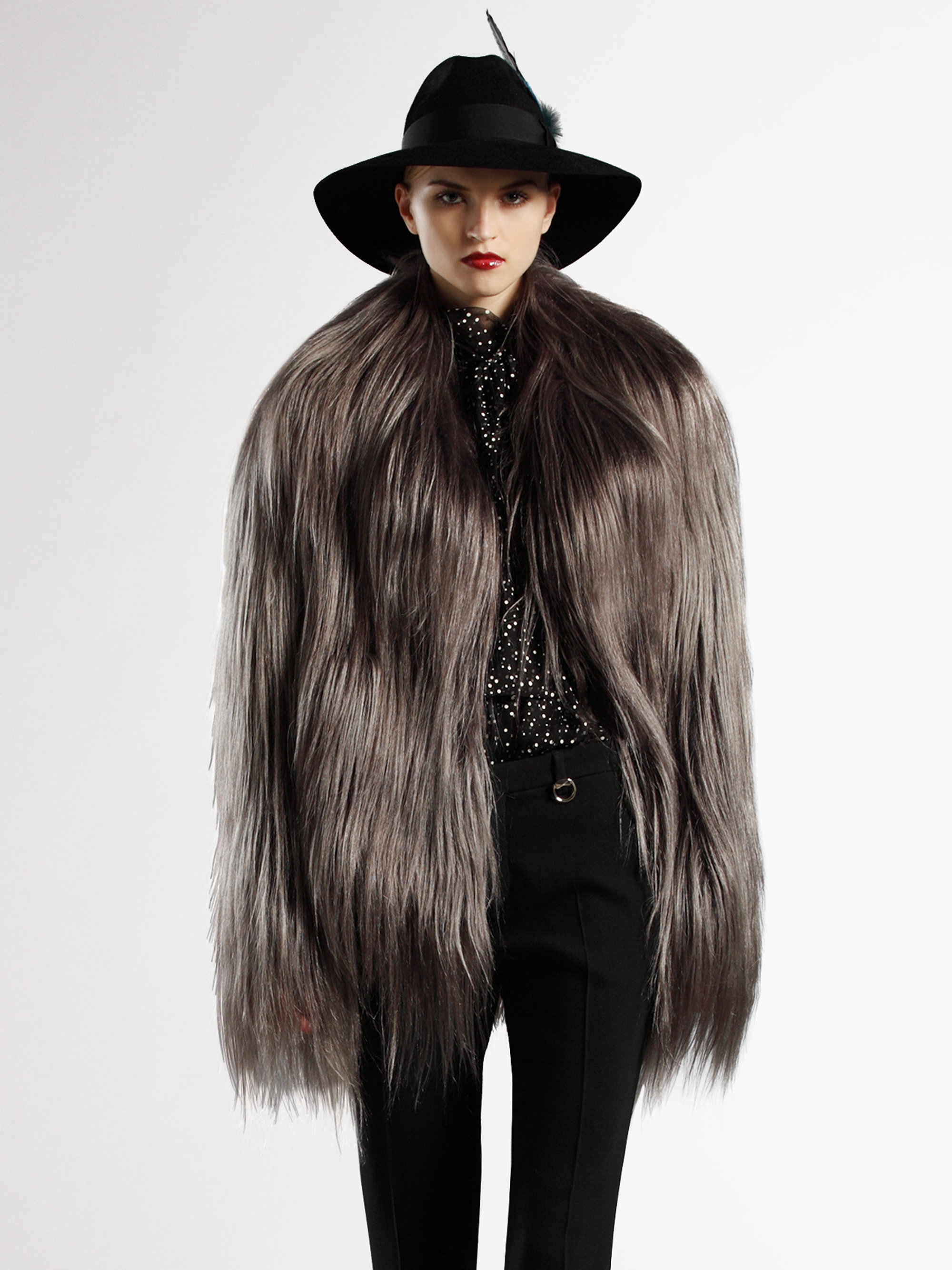Lyst Gucci Doublebreasted Goat Fur Jacket In Gray