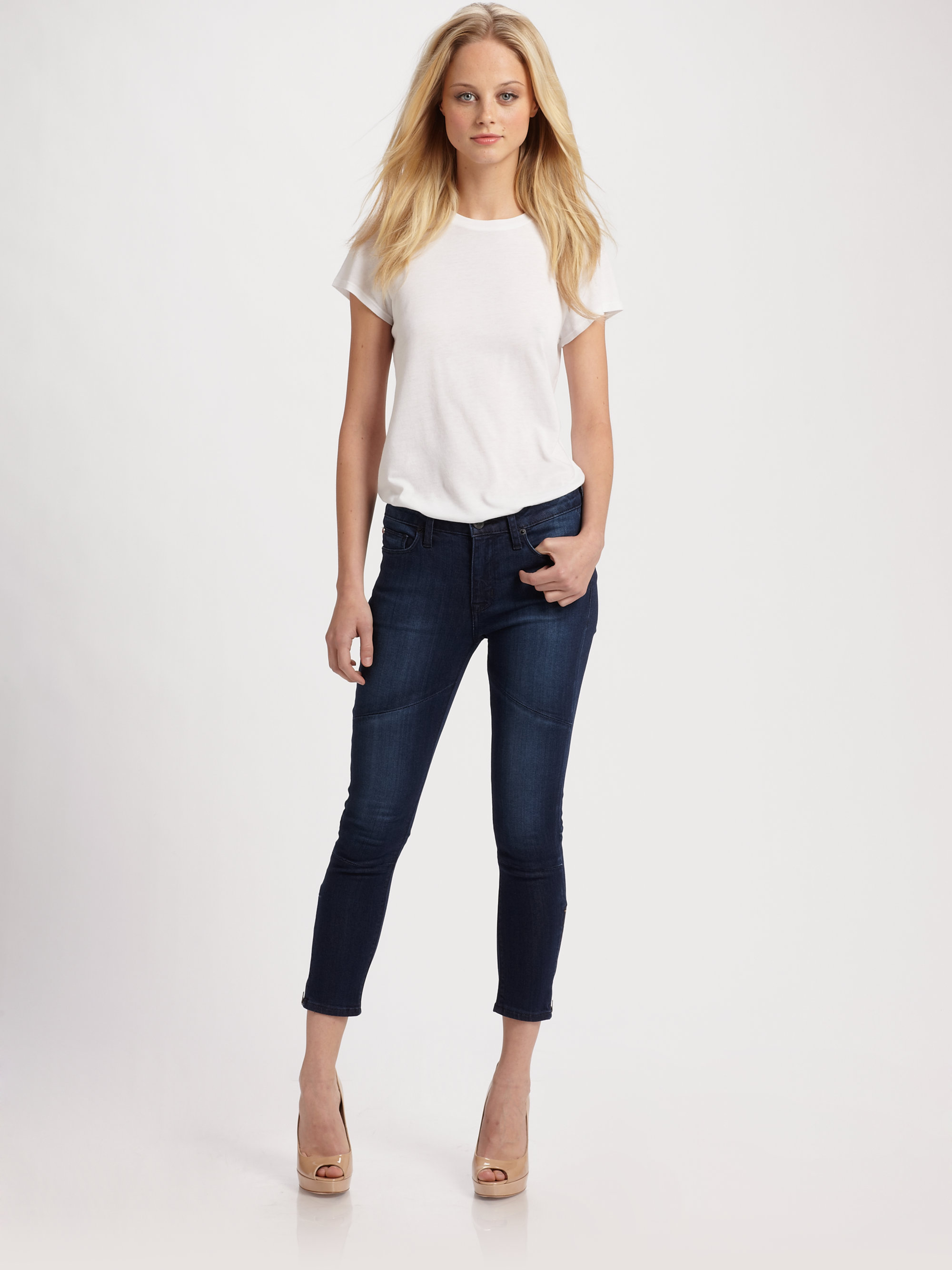 Hudson jeans Rider Cropped Skinny Jeans in Blue | Lyst