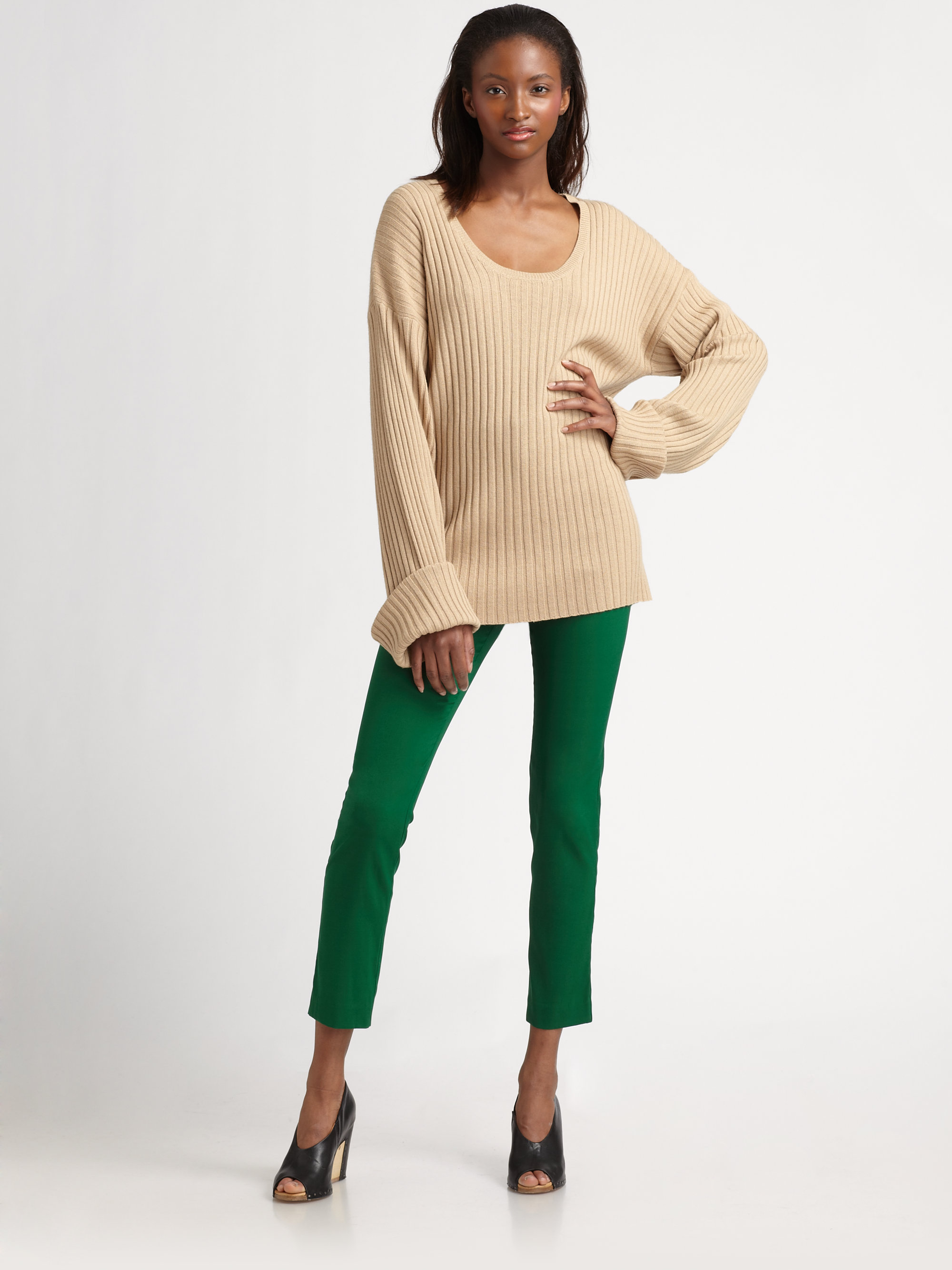 Jeffrey monteiro Oversized Ribbed Sweater in Natural | Lyst