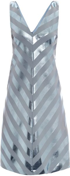 Jonathan Saunders Nicola Foil Stripe Bias Dress - Lyst