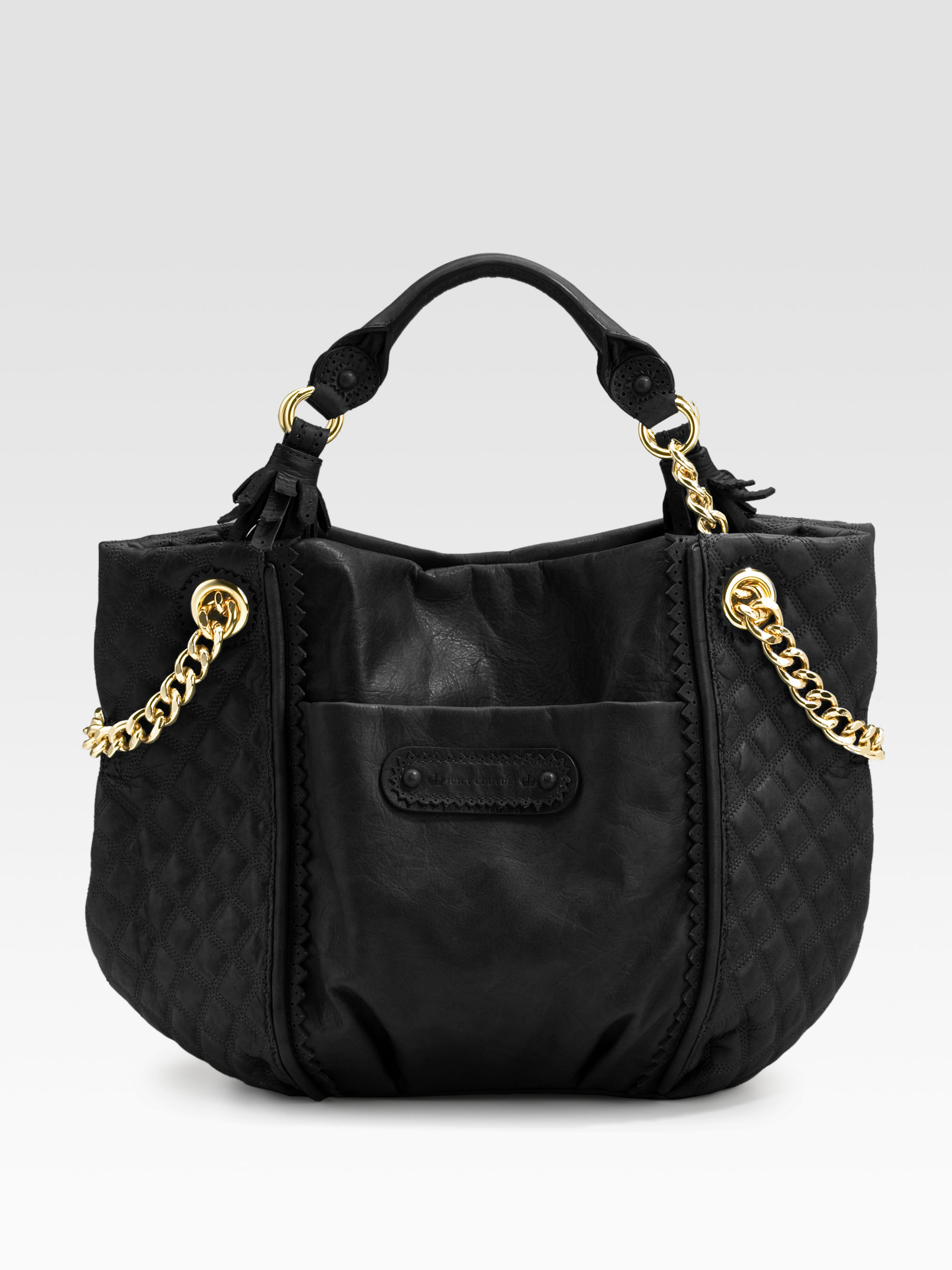 juicy couture brogue leather duchess tote bag in black lyst. Black Bedroom Furniture Sets. Home Design Ideas