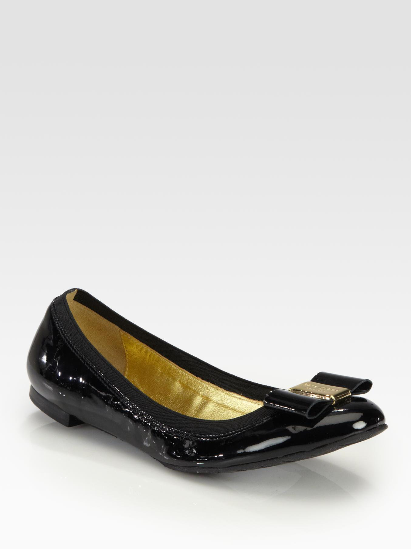 ffec70284347 Lyst - Kate Spade Tock Patent Leather Bow Ballet Flats in Black
