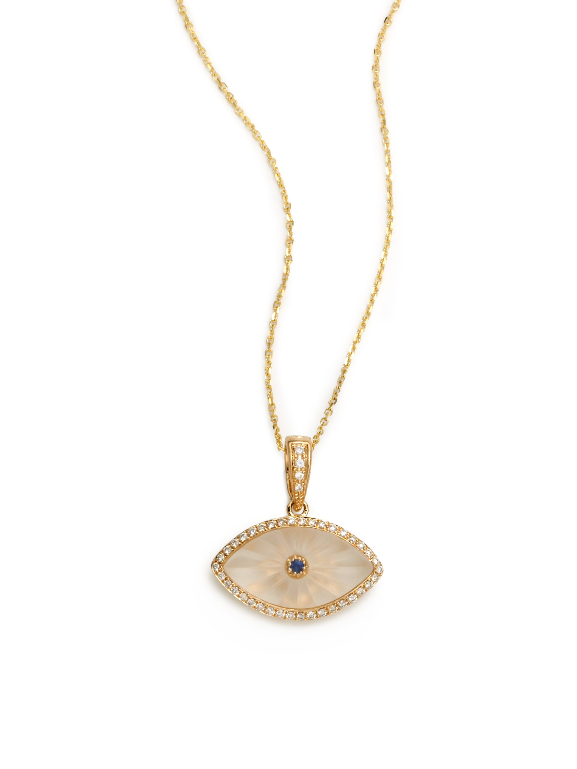 designs gallery eye gold jewelry evil lyst diamond kc in product sapphire metallic necklace