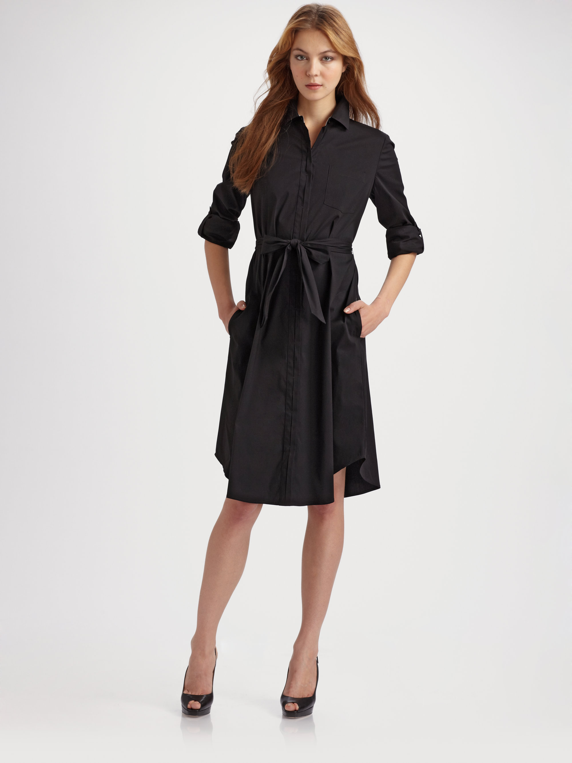 Lafayette 148 new york stretchknit shirt dress in black lyst for New york and company dress shirts