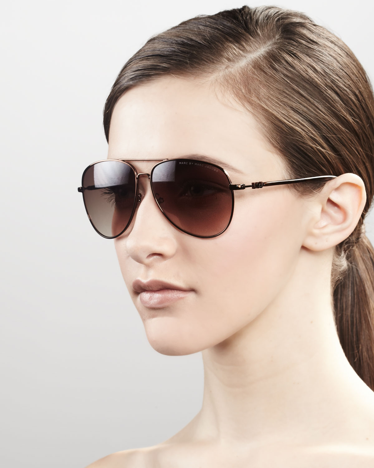 Marc Jacobs Aviator Sunglasses  marc by marc jacobs aviator sunglasses in brown lyst