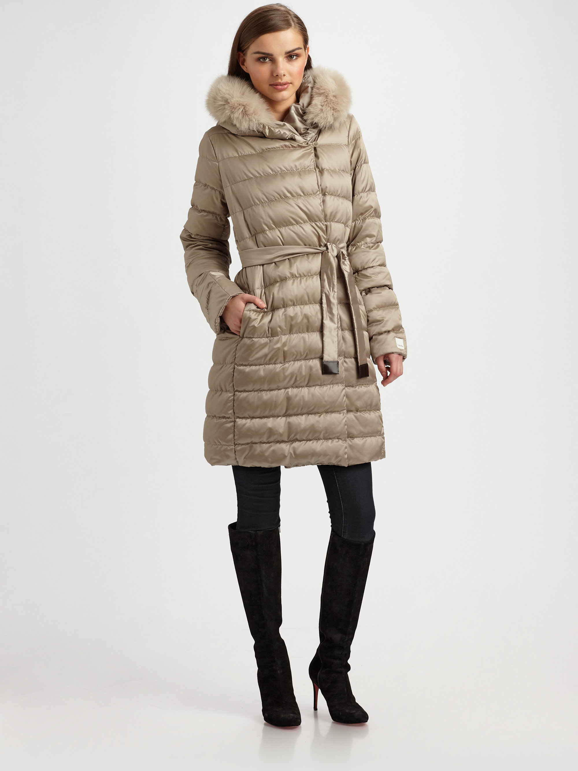 Max Mara Novef Cube Puffer Coat In Natural Lyst