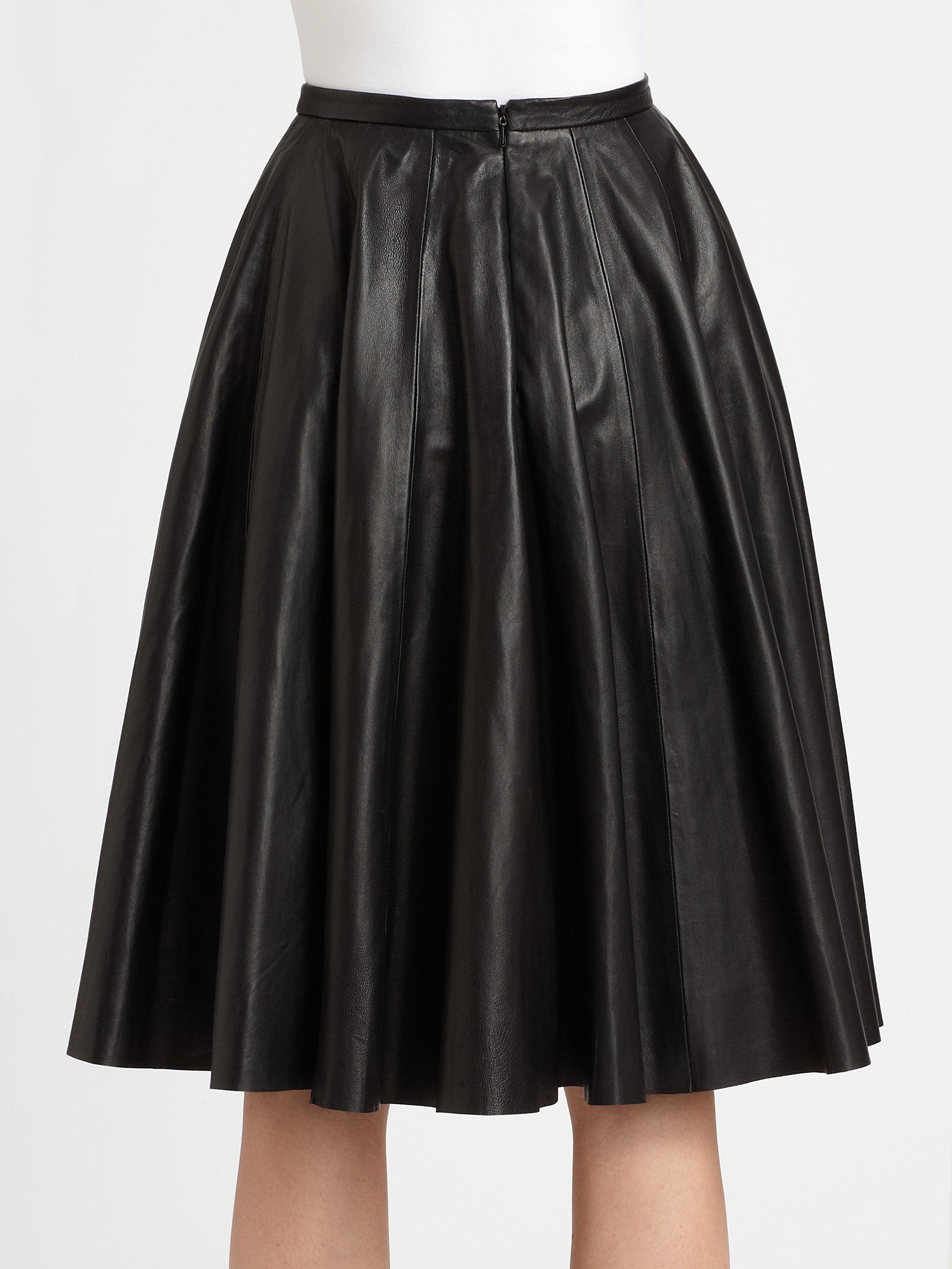 mcq pleated lambskin leather skirt in black lyst